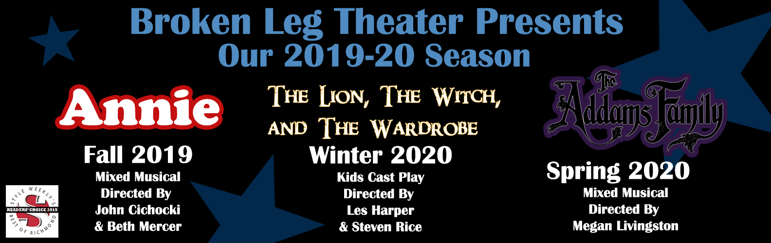 Season announcement of Annie, Lion, Witch, and the Wardrobe, and The Addams Family